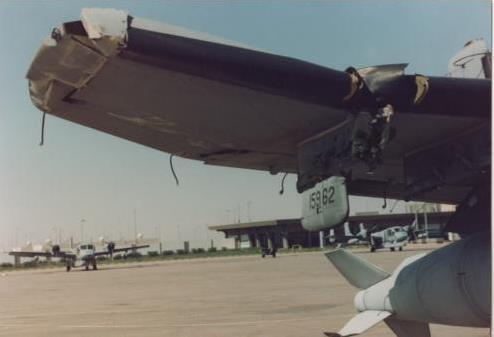 Gulf 1 damage. Collision with a windsock.