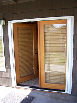 Double Roll-Away Retracrable Screen Door - retracted