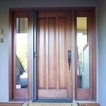 Single Roll-Away Retractable Screen Door - retracted