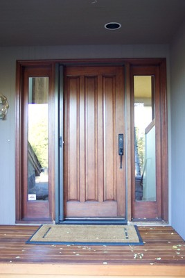 Single Roll-Away Retractable Screen Door - retracted