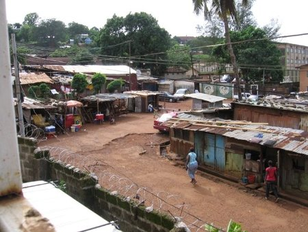 Aerial shot of street
