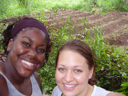 Iejoma and Amber on 10 acres of land purchased near Bo