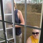andrea and danielle paint the windows