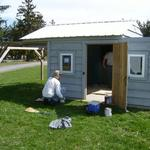 Gary Honis (Lawrence of CSSP) painting sky shed
