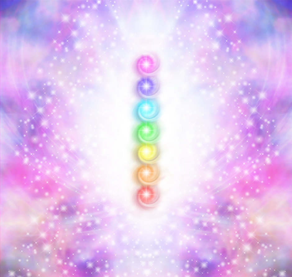 Chakras bathed in light and colour