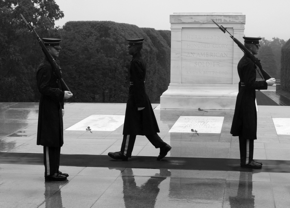 Tomb Sentinels from the Old Guard begins the Changing of the Guard ceremony in front of the Tomb of the Unknowns at Arlington National Cemetery. (U.S. Army photo by Kerry Solan)