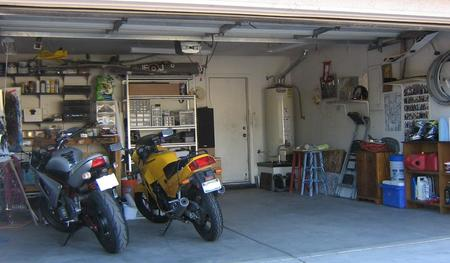 AFTER - Able to fit both motorcycles in the garage! And a car!.J