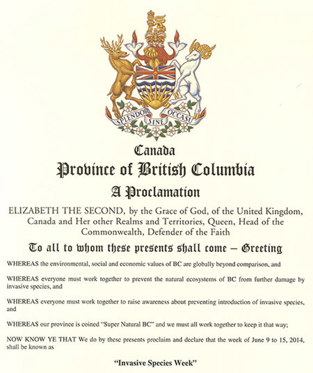 Invasive Species Week BC government proclamation 2014