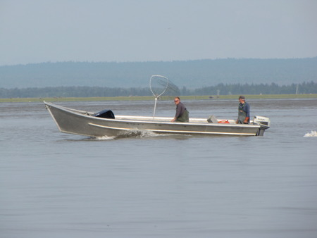 Scott and Wade in one of the Homemade Skiffs