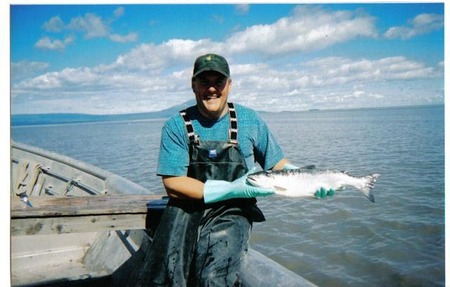 Scott with a freshyly caught salmon