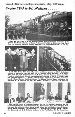 Santa Fe Railway Magazine article on dedication of 2913 to city.