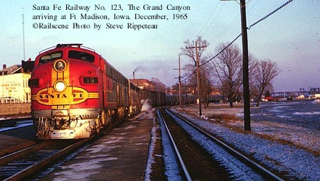 Grand Canyon Ltd arriving at Ft Madison, IA Dec, 1965