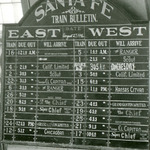 Train arrival and departure board in Ft Madison depot