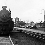 Santa Fe Ry 3427 stopped at Ft. Madison, Iowa circa1939