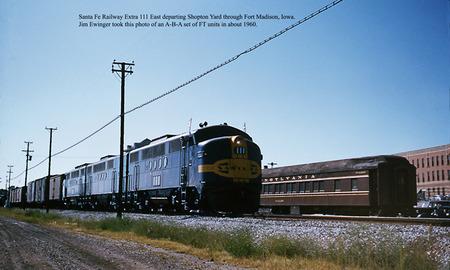 Santa Fe 111 Eastbound freight train leaving Shopton