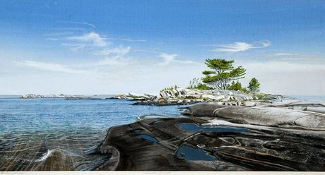 Georgian Bay Divinity, watercolour, 20 x 36 inches - by Bruce Herchenrader  Private Collection