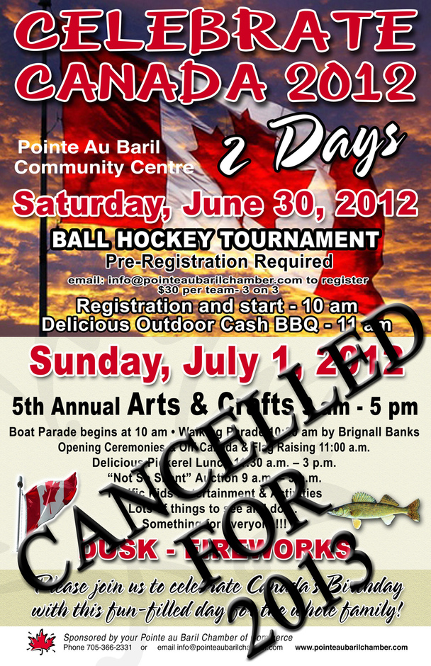 Word is: The Pointe au Baril Chamber of Commerce is looking like it will not open this year due to lack of interest and support. So, Canada Day cel...