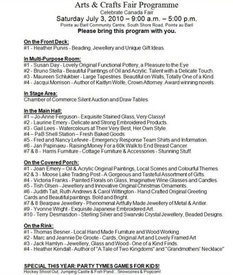 Arts & Crafts Fair Programme