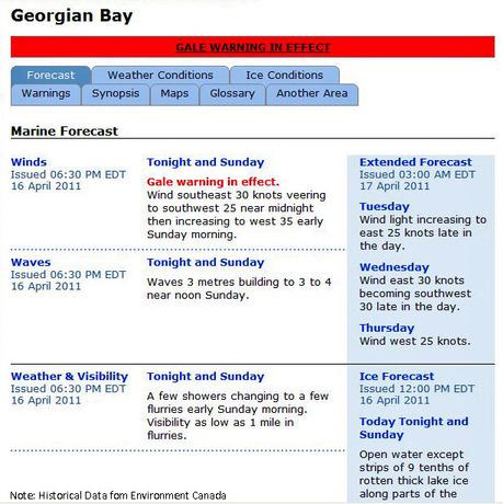 Gale warning April 16-17,2011