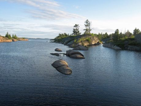 French River exits to Bay