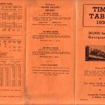 Time Table 1938 30,000 Islands Georgian Bay