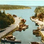 The Harbour at Pointe au Baril - late 1930's - colorized