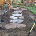 Installation of Sawn Boulder Walk