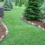 Sod, Boulder Border and Mulch
