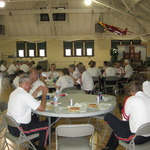 Grabbing a quick lunch at the Westerly Armory between parades