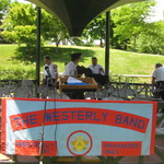 Setting up for concert in Wilcox Park Gazebo