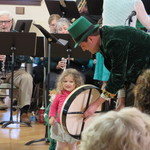 The Leprechan showing how to play his Irish Drum