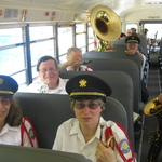 Charlestown, RI Parade relaxing on bus after marching