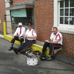Mystic , CT relaxing in shade before parade