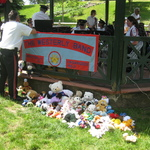 setting up for concert--readying the stuffed animals