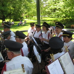 Westerly Band members in Gazebo tuning up for concert