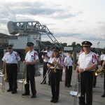 Ready to March in for concert by Mystic River