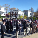 ceremony at  monument, Broad St. Pawcatuck, CT