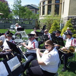 flute section prepares for Garden Market Fair Concert