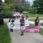 Marching into Wilcox Park for ceremony Memorial Day 2015
