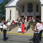 Waiting at St Marys Church for procession after Mass