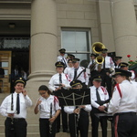 Westerly Band on steps of Westerly Town Hall