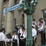 playing marches at town hall