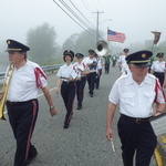 Marching on Route 1 Mystic, CT over cove