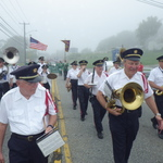Marching over foggy cove on Route 1 Mystic, CT