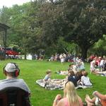 children's concert~~crowd gathering near gazebo Wilcox Park