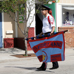 Jamie holding banner Fireman's Parade 2015