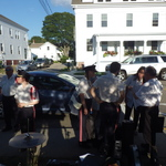 Setting up for Mystic River concert