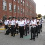 Sturday procession pausing on Water Street, Stonington, CT