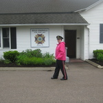 Alison leaving the VFW after ceremony