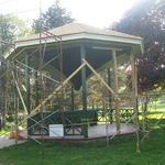 Gazebo from 1902 being reconstructed for band